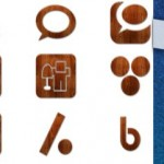 136 Wood Grunge Glossy Social Icons Set