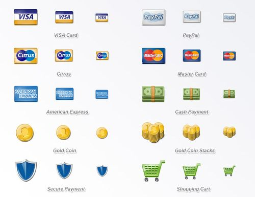 payment options and e-commerce icons set download