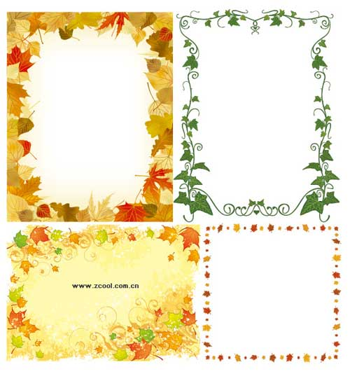 vector photo frames leaves ornament
