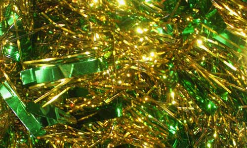 green christmas tinsel texture