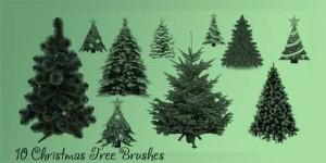 free christmas tree psd photoshop brushes