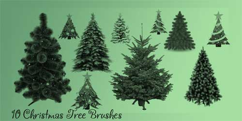 free christmas tree psd photoshop brushes