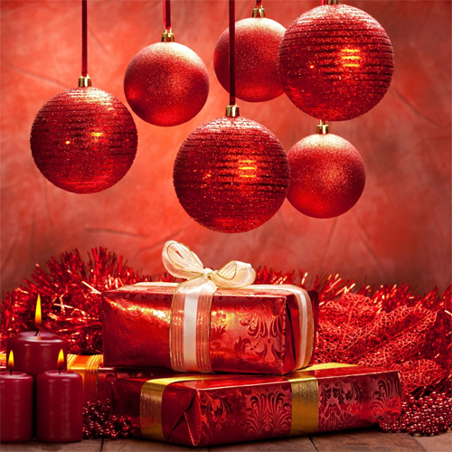 ipad 3 Red Christmas Balls and Gifts Background