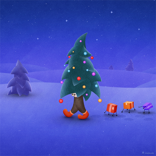 Traveling Christmas Tree Ipad Wallaper