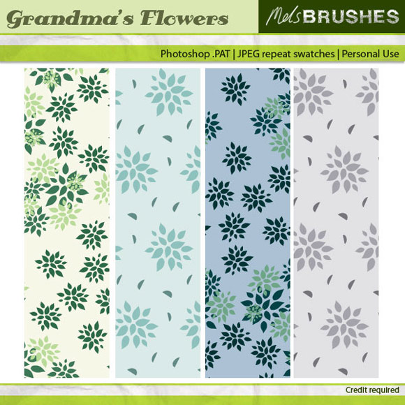 Greeny Free Floral Photoshop Patterns