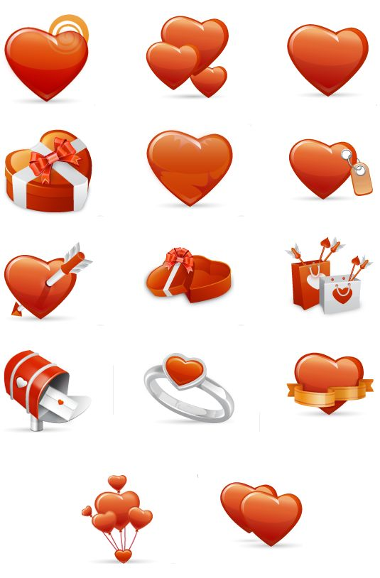 valentine love day icons set download