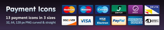 Free Credit Card, Debit Card and Payment Icons