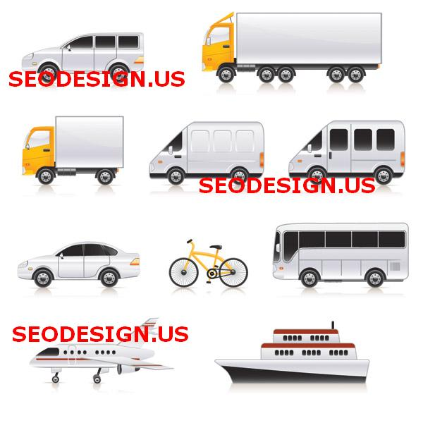 Free transport cars truck vector icons