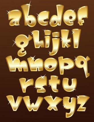Gold Metal Fonts Vector Textures