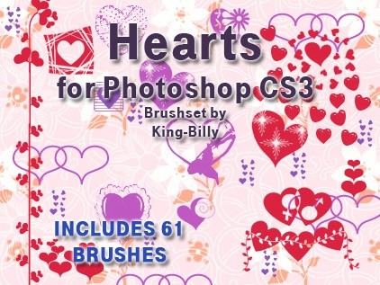 61 Retro Hearts Photoshop Brushes