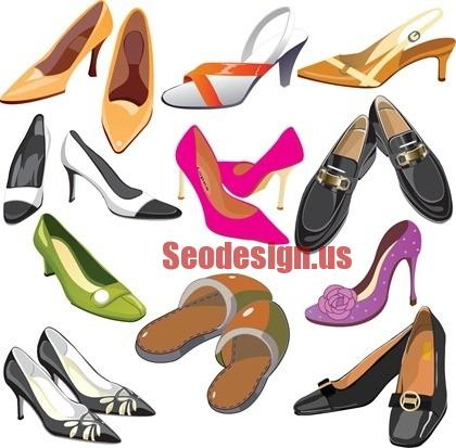 60+ Cute Fashion Shoes Vector Silhouettes