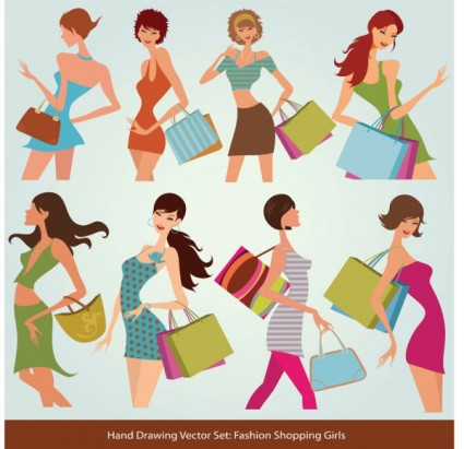 Fashion Shopping Hand Drawing Vector Art Graphics