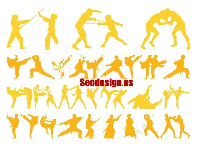 Free Martial Arts Silhouettes Vector Graphics