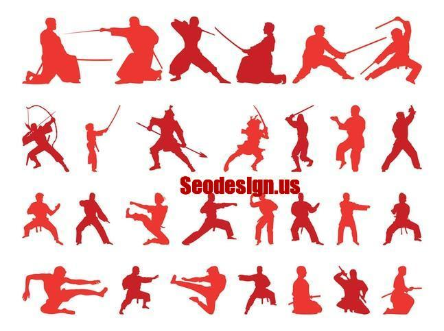 50+ Martial Art Vector Silhouettes