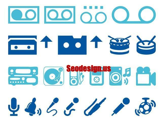 Blue Music Audio Icons Set Download