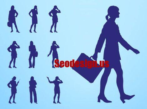 Free Business Woman Vector Silhouettes