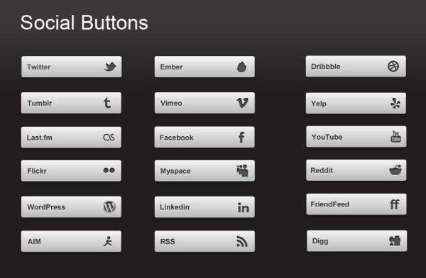 20 Social Media Buttons