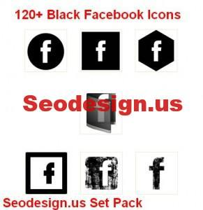 120+ Black Facebook Icons Set