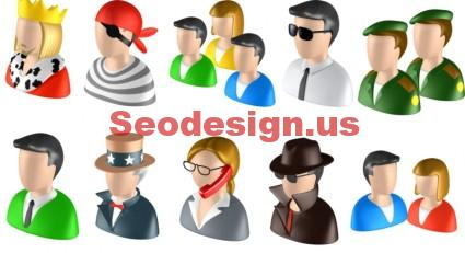 3D Colorful People Icons