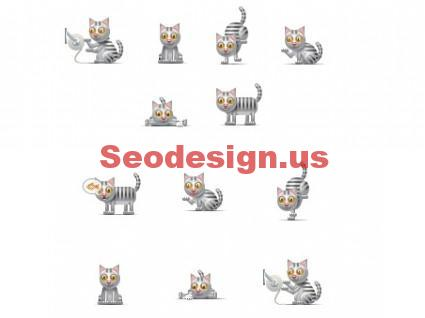 Black White Cat Icons Set Download