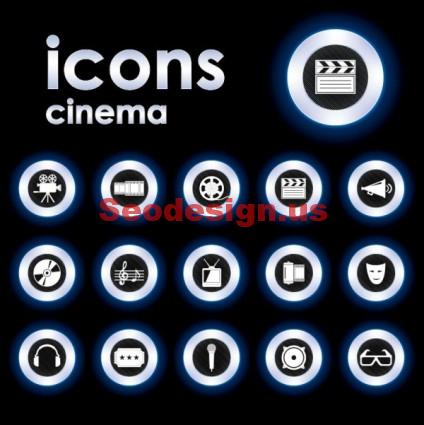 Cinema Icons Vector Set