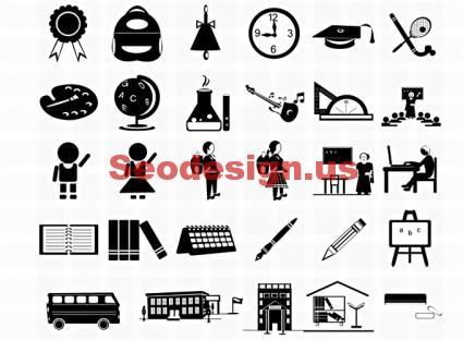 20+ Education Photoshop Icons Set