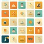30+ Retro Summer Beach Icons Set