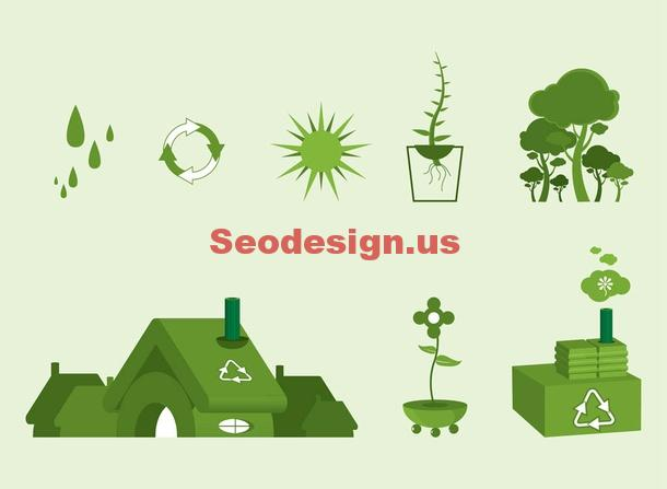 Green Ecology Vector Icons Download