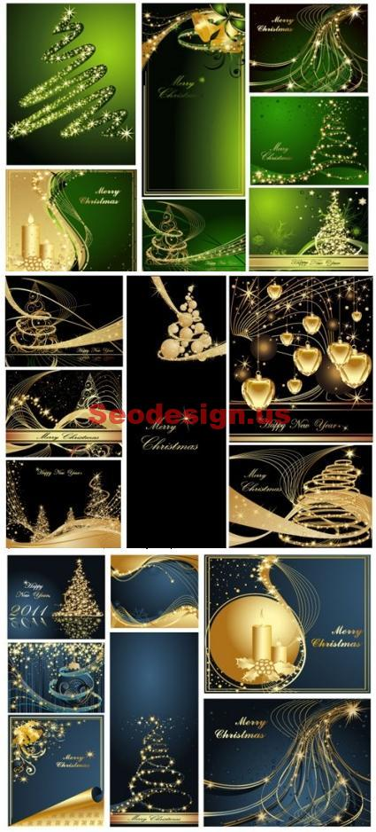 Grunge Christmas Vector Backgrounds
