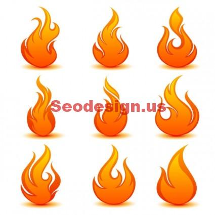 Vector Flame Icons Set