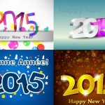 4 Happy New Year 2015 Vector Illustrations