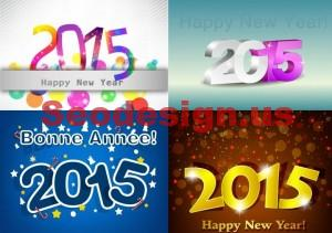 Happy New Year 2015 Vector Illustrations