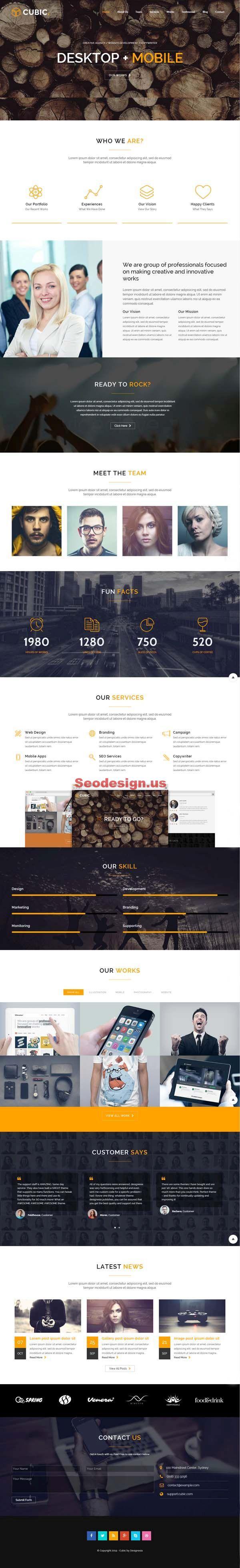 Cubic – One Page Responsive WordPress Theme