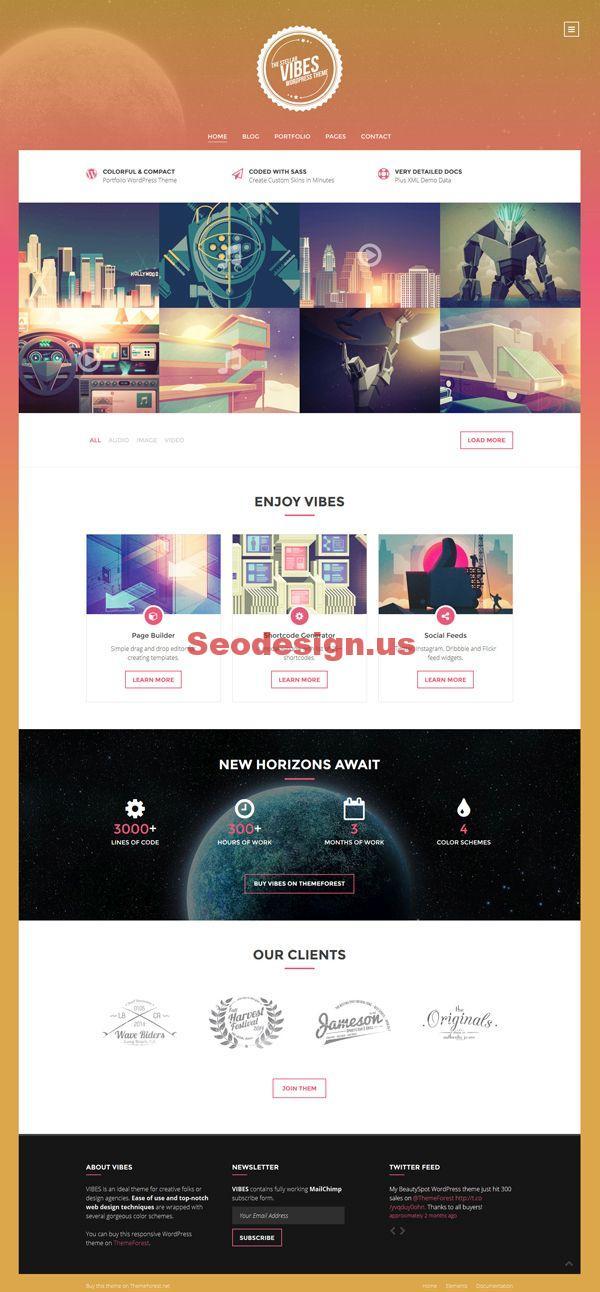 Vibes - Colorful Compact Portfolio WordPress Theme