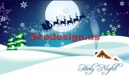 Blue Christmas Vector Cards