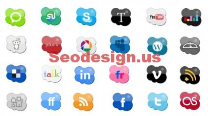 Cloud Social Icons Set