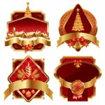 4 Red Gold Christmas Vector Decoration
