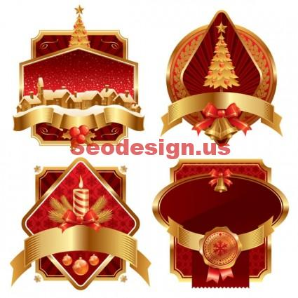 Red Gold Christmas Vector Decoration
