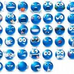 80 Blue Emoticons Set