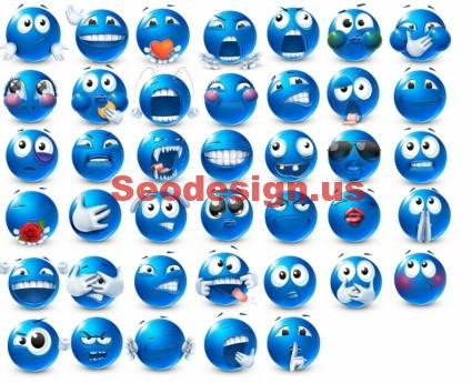 Free Blue Emoticons Set