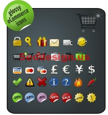 Glossy eCommerce Icons Set