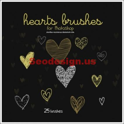 Cute Hearts Photoshop Brushes