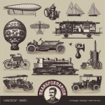 14 Vintage Vehicles Vector Graphics