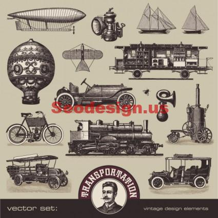 Vintage Vehicles Vector Graphics Download