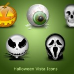 5 Glossy Halloween Icons Set