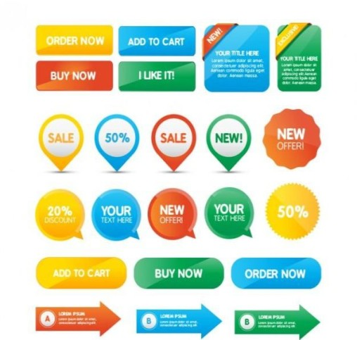 Order Buy Sale Buttons Vector