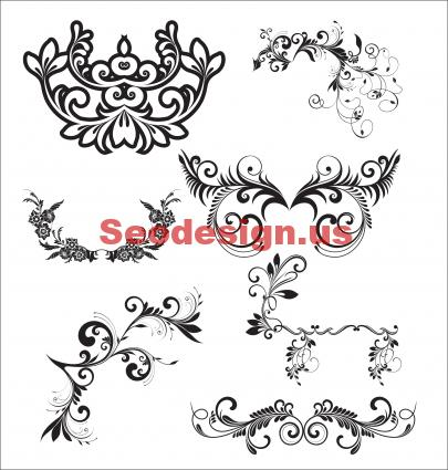 Free Black Vector Floral Elements