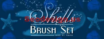 Free Sea Stars Shells Photoshop Brushes