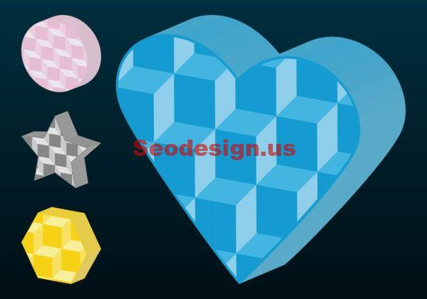 Colored Free Vector 3D Shapes