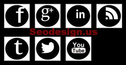 White Black Social Media Icon Set